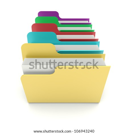 Colorful data folders on a white background. 3d image