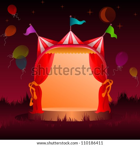 colorful, decorated circus tent on a meadow with balloons at night