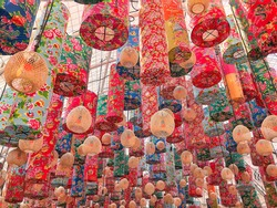 Colorful decorative oriental painted lanterns with daylight. Chinese New Year lanterns