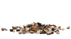 Colorful, decorative pebbles, rocks isolated on white background