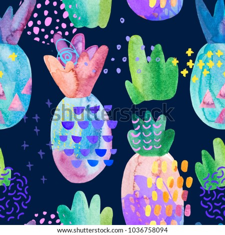 Colorful decorative pineapples with watercolor texture, doodles drawings, abstract geometric elements. Cool summer seamless pattern. Hand painted illustration. Art background in childish cartoon style