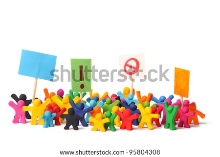 colorful demonstration of plasticine people - stock photo