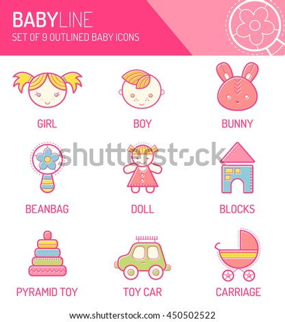 Colorful design set with stroked children's icons. Happy and bright babyish color palette. Cute contoured signs in modern flat style