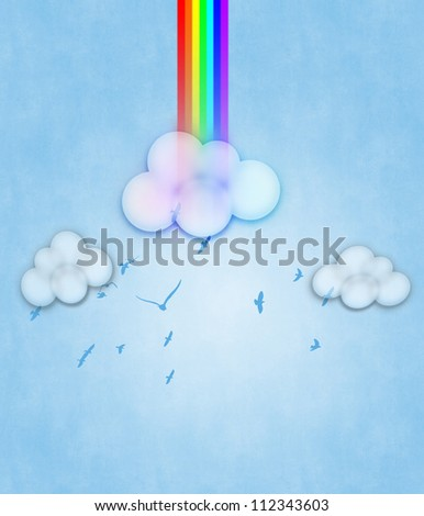 Colorful design with clouds and rainbow on blue.