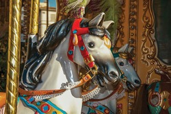Colorful detail of horses on carousel at sunset in the city of Florence, the famous and amazing capital of the Italian Renaissance.