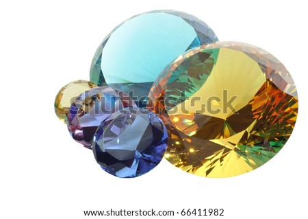 Colorful diamonds on a white background, with clipping path