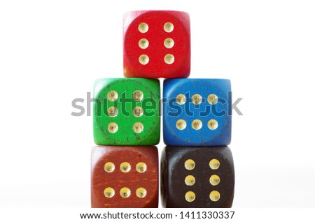 Colorful dices, gaming, pile of dices #1411330337