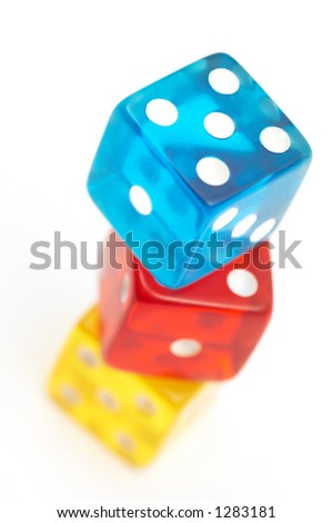 colorful dices on white