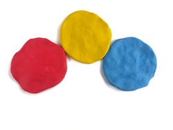 Colorful different abstract shape made from plasticine clay on white background, Speech bubble dough