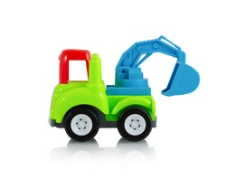 Colorful digging truck toy isolated on white background with shadow reflection, clipping, vector path. Plastic child plaything on white backdrop. Construction vehicle. Children's tractor toy.