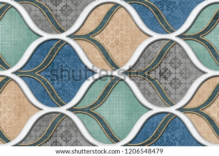 colorful digital wall tiles design for bathroom.Seamless abstract colorful pattern. Endless pattern can be used for ceramic tile, wallpaper, linoleum, textile, web page background. #1206548479