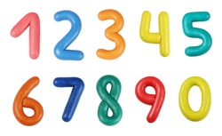 Colorful digits made from plasticine (isolated on white)
