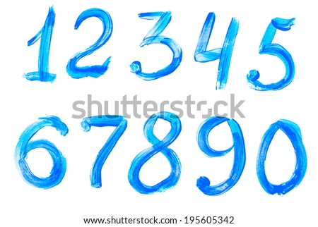 Colorful digits painted with watercolor isolated on white background