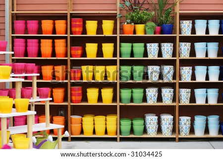 colorful display of planters