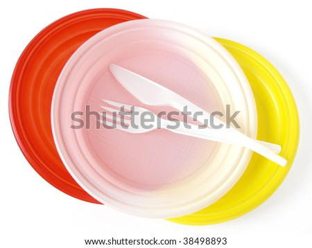 colorful disposable tableware set for picnic