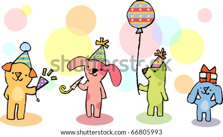 Colorful dogs celebrating in a party