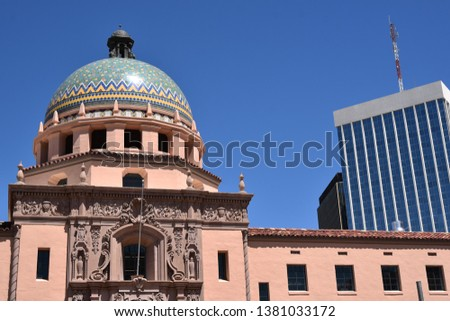 Colorful dome of the Pima County Courthouse in Tucson Arizona