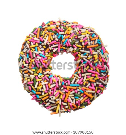Colorful donut isolated on white background