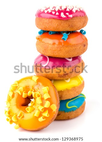 Colorful donuts isolated on white background