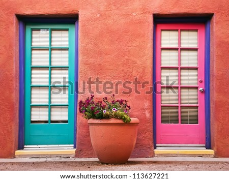 Colorful doors and flower pot against terracotta wall