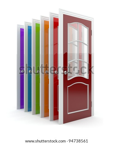 Colorful doors 3D. Isolated on white background - stock photo