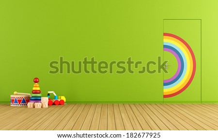 Colorful doors flush with the wall in a toys room