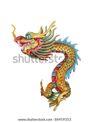 Colorful dragon statue in native Chinese style isolated on white background