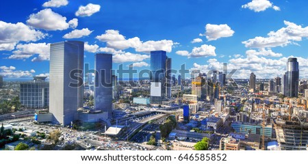 Colorful dramatic and panoramic HDR image of the cloudy skyline of Tel Aviv with its skyscrapers - aerial image, Israel Stock fotó ©