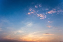 Colorful dramatic sky with cloud at sunset.Sky with sun background