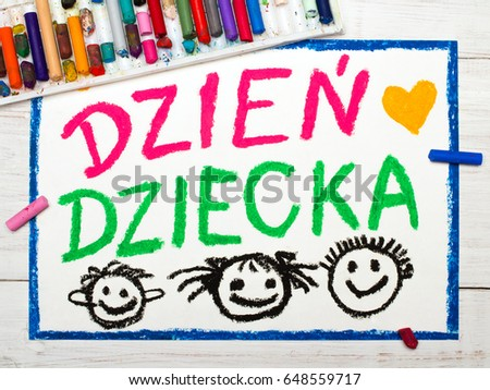 Colorful drawing. Children's day card with Polish words: Children's day Zdjęcia stock ©