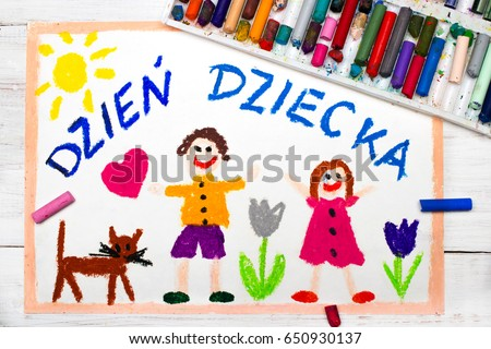 Colorful drawing:Children's day card with Polish words Children's day Zdjęcia stock ©