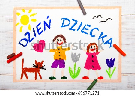 Colorful drawing: Children's day card with Polish words Children's day Zdjęcia stock ©