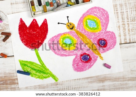 colorful drawing: happy butterfly and beautiful tulip