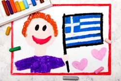 Colorful drawing: Happy man holding Greek flag.  Flag of Greece and smiling boy