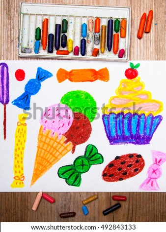 colorful drawing: ice cream, cupcake and sweets  - Shutterstock ID 492843133