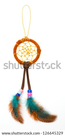 Colorful dream catcher from leather - bead - rope and feather isolated on white