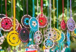 Colorful dreamcatchers. Protection of children against evil spirits in culture of Native Americans