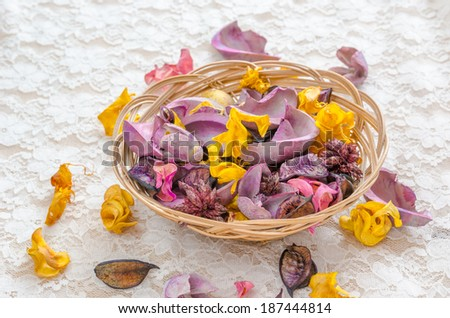 Colorful dried plants with white lace