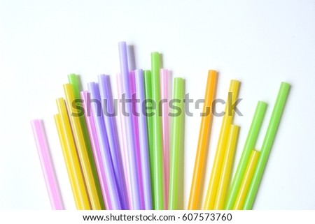 Colorful drinking straws #607573760