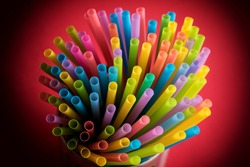 Colorful drinking straws in Focus