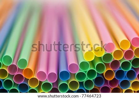 colorful drinking straws with shallow focus