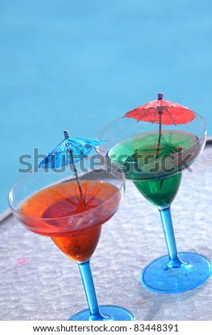 Colorful Drinks by Pool/refreshing Drink/ Pool and Mixed drinks