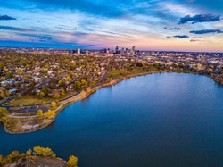 Colorful Drone Sunset Over Sloan's Lake in Denver, Colorado