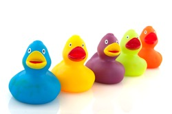 colorful ducks in a row isolated over white