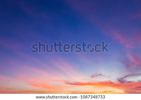 colorful dusk sky sunset in the ...
