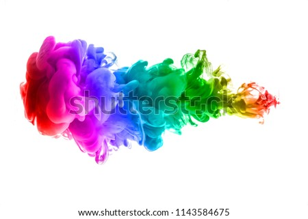 colorful dye in water on white background #1143584675