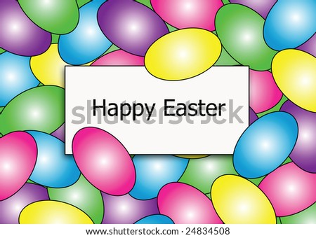 colorful easter egg background with a Happy Easter greeting