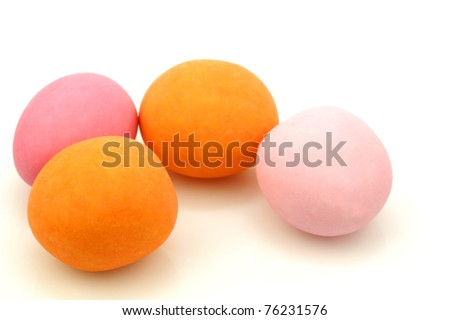 colorful easter egg candy on a white background