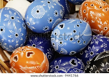 Colorful easter egg - hand painted - stock photo