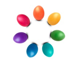 Colorful Easter eggs arranged in a circle